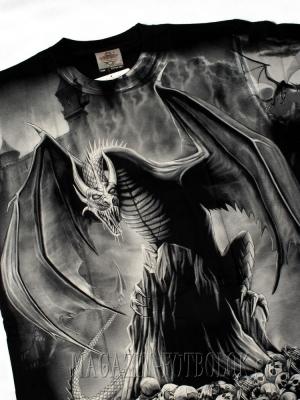футболка дракон черепа и замок