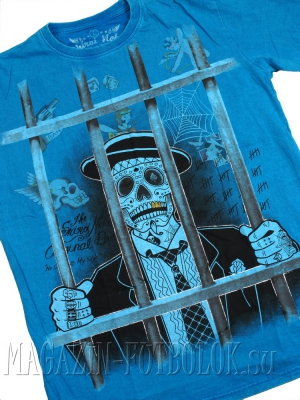 футболка с черепом skull in jail (blue)