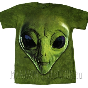 футболка с инопланетянином green alien face