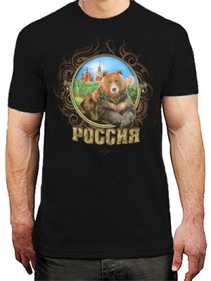 футболка с медведем россия