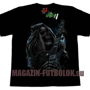 футболка скелет — бас-гитарист