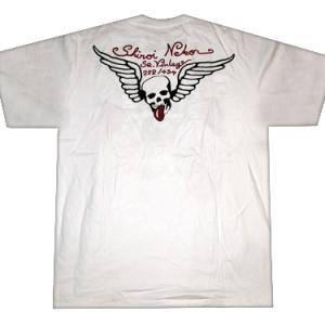 футболка со стразами череп с крыльями