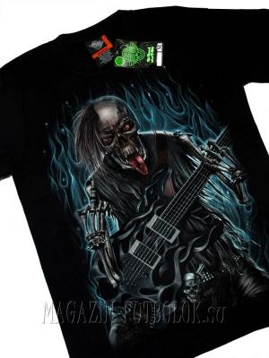 футболки black metal punk skeleton guitar