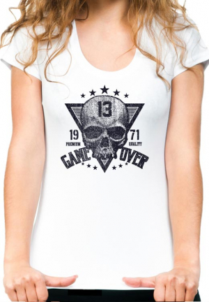 женская футболка game over skull girls