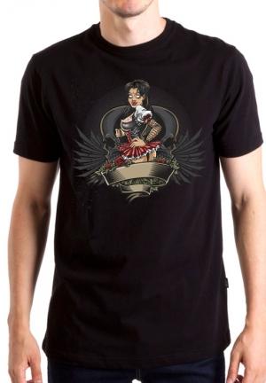 футболка girl skull rose