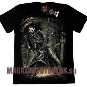 heavy metal футболка с гитаристом