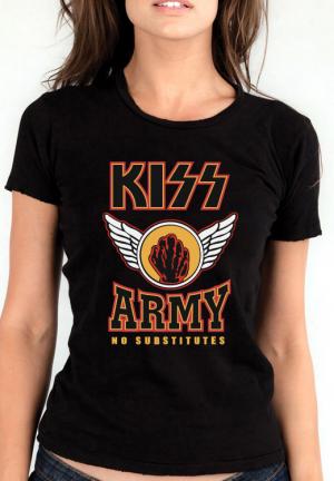 футболка kiss army no substitutes girls black