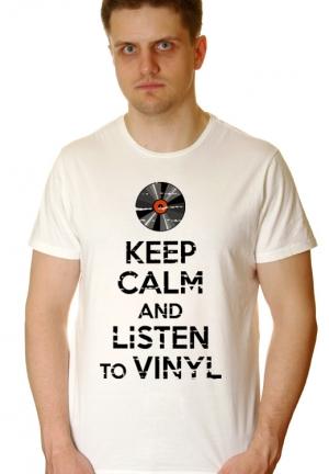 футболка keep calm and listen to vinyl - на заказ