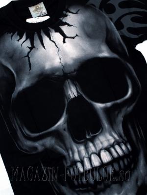 майка 3д - пробитый череп
