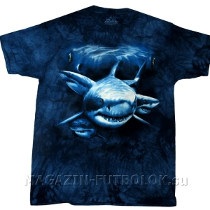 майка 3д - shark moon eyes с акулой