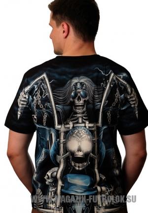 футболка байкерская blue skeleton full print