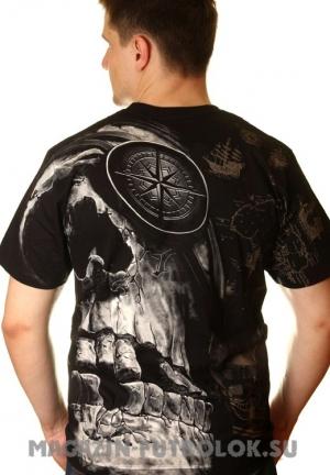 череп с компасом - футболки 3 д