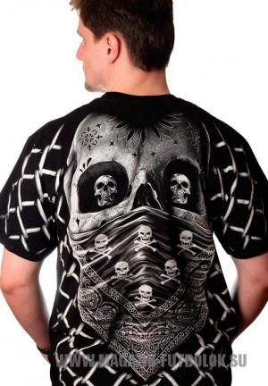 футболка c черепом и сеткой