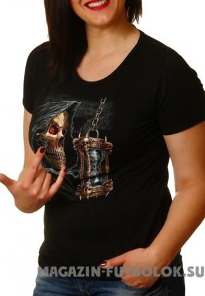 футболка женская череп с фонарём