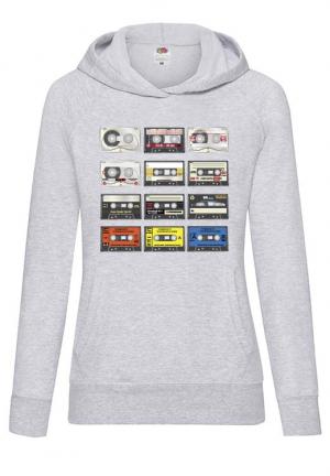 худи tape audio cassete hoodie grey