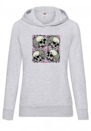 Худи 4 Skulls Rose Hoodie Grey Girl