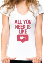 Футболка с текстом для девушек All You Need is Like