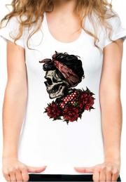 футболка girl skull bandana rose  black girl