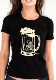 Женская футболка Smoking Skeleton Beer Glass Girl