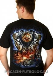 мото футболка байкерская engine