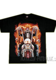 футболка байкерская skeleton in fire