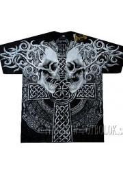 футболка c крестом и черепами