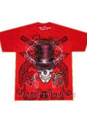 футболка череп в шляпе