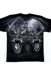 футболка с драконами и скелетом