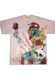 футболка  с драконом черепом и розами