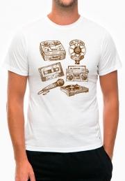 футболка ретро микрофон и магнитофон