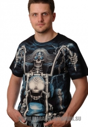 Футболка байкерская Blue Skeleton full print