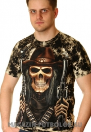 3 D футболки Скелет Два револьвера
