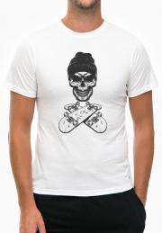 Футболка Vintage Monochrome Skateboarder Skull White