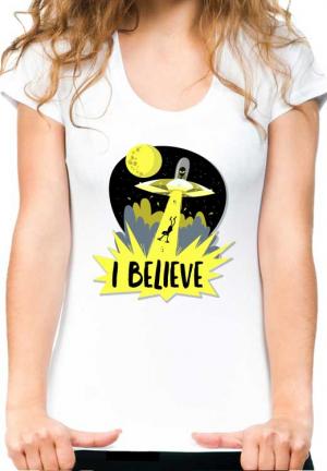 женская футболка ufo yellow ray light