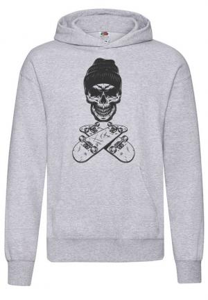 худи vintage monochrome skateboarder skull hoodie gray