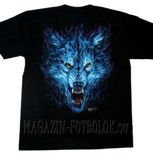 ice fire wolf - футболка с волком мужская