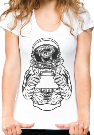женская футболка zombie astronavt girl